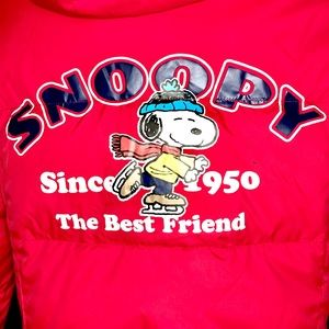 Snoopy red hooded puffer coat